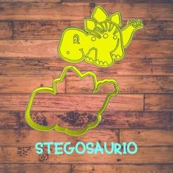 Diseño sin título-3.jpg Download STL file stegosaurus (dinosaur) cookie cutter / cortador de galleta de dinosaurio • 3D printing model, Cutkie