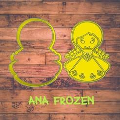 Diseño sin título-15.jpg Download STL file Ana Frozen cookie cutter / cortador de galleta de Ana Frozen • 3D printable object, ToolBoxCorp