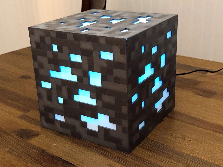 diamond_ore_lamp_sm.jpg Download free STL file 8-Bit Minecraft Diamond Ore Lamp - Siri Enabled! • Design to 3D print, mkoistinen