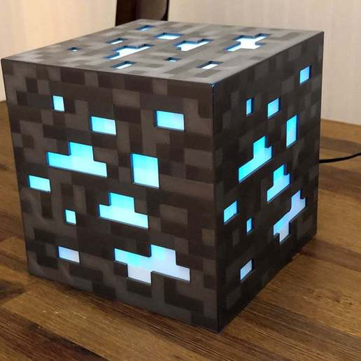 Download free STL 8-Bit Minecraft Diamond Ore Lamp - Siri Enabled!, mkoistinen
