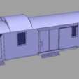 Download free 3D model H0 scale old time baggage train car, nenchev