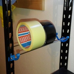 Download free STL files Tape roll holder - for shelf & wall, topedesigns