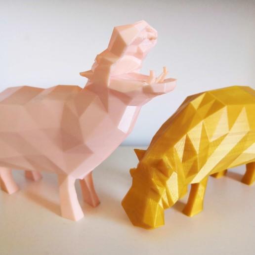 Download free STL file Low poly hippos ! • 3D printer design, Sheeloo