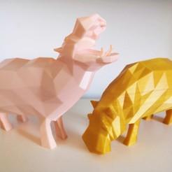 Télécharger fichier STL gratuit Des poly hippopotames bas ! • Modèle pour impression 3D, Sheeloo