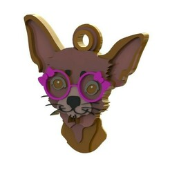 chihuahua  con lentes.JPG Download STL file CHIHUAHUA PET TAG • 3D printable template, Albrey3d