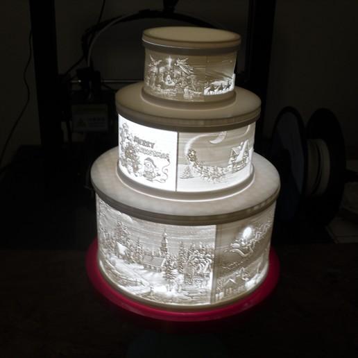 Télécharger fichier STL gratuit Gâteau de Noël au lithophane • Objet pour imprimante 3D, liggett1