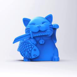 Cat4.png Télécharger fichier STL Maneki neko - chat porte-bonheur • Plan pour imprimante 3D, GeekOn