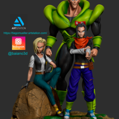 Download 3D printer model dragon ball androids, barretomueller