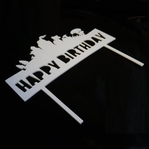 20190402_194501.jpg Download free STL file Happy Birthday Fortnite cake topper • 3D printable object, MagnusBee