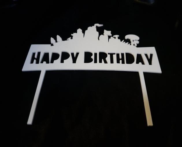 20190402_194334.jpg Download free STL file Happy Birthday Fortnite cake topper • 3D printable object, MagnusBee