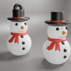 snow man 7R.png Télécharger fichier STL bonhomme de neige ornement d'arbre de Noël • Design pour imprimante 3D, DinuSuciu