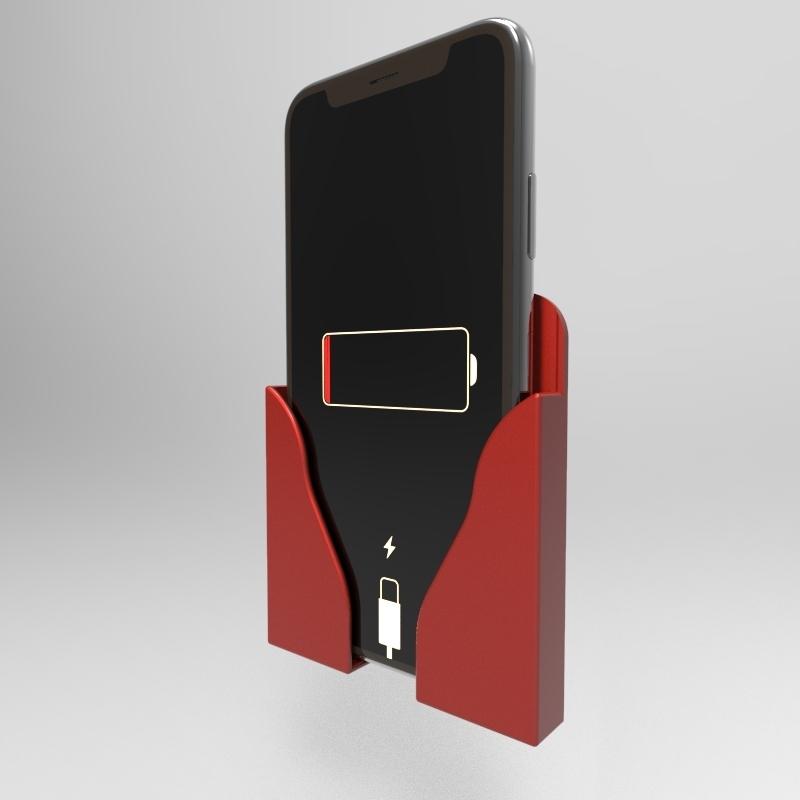 untitled.162.jpg Télécharger fichier STL SUPPORT MURAL POUR LA RECHARGE DES TÉLÉPHONES • Modèle à imprimer en 3D, IceKiwi