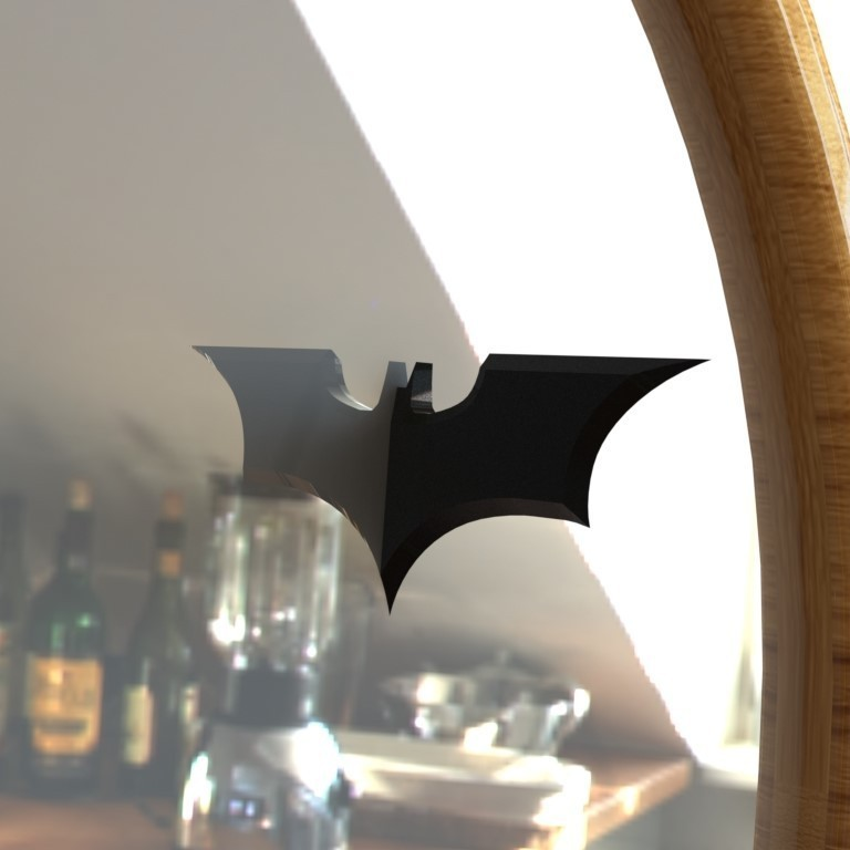 3.JPG Download STL file Half BATMAN Batarang Mirror Accessory • 3D printing object, IceKiwi
