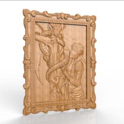 Descargar diseños 3D gratis mujer con marco cnc dragón, CNC_file_and_3D_Printing