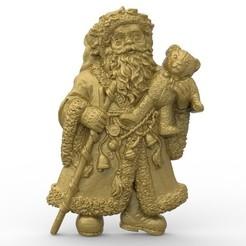 Imprimir en 3D gratis navidad de santa claus con un oso de peluche cnc, CNC_file_and_3D_Printing
