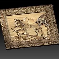 Descargar diseños 3D gratis mujer desnuda delante de un barco cnc art frame, CNC_file_and_3D_Printing