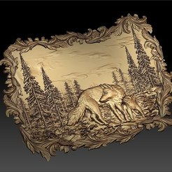 Free 3D printer designs wolf and cub in nature forrest cnc router art frame, CNC_file_and_3D_Printing