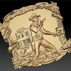 Free STL files cowboy in front of saloon cnc art frame router, CNC_file_and_3D_Printing