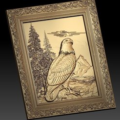 Free STL beautiful eagle in the mountain cnc frame art router, CNC_file_and_3D_Printing