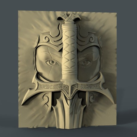 Download free 3D printer model viking face sword cnc art frame , CNC_file_and_3D_Printing