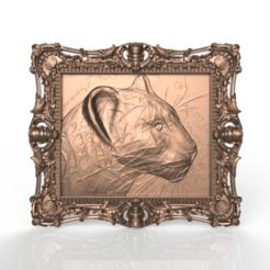 Descargar STL gratis marco de pantera arte animal cnc router, CNC_file_and_3D_Printing