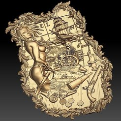 Download free 3D printer templates naked woman pirate boat cnc frame, CNC_file_and_3D_Printing