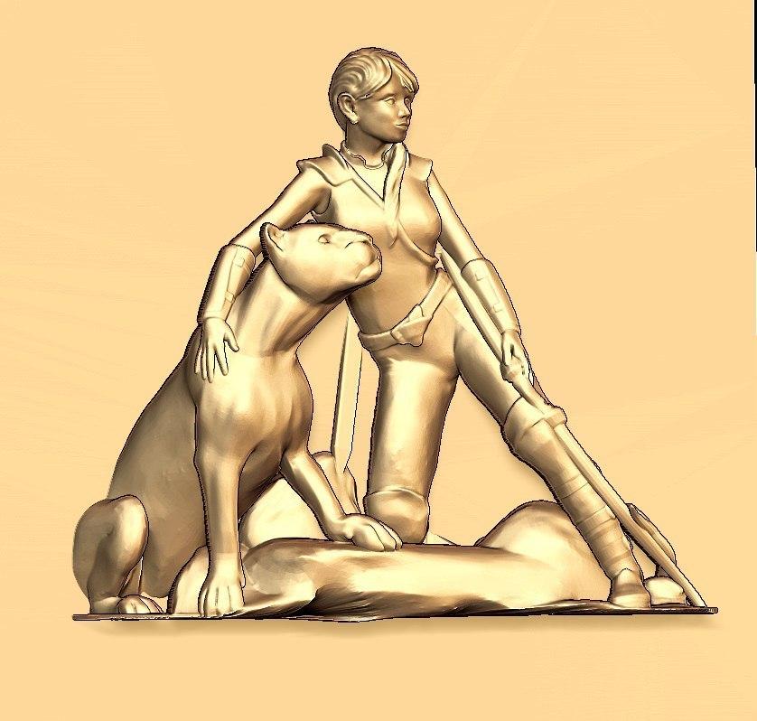 124.jpg Download free STL file Hunter with a feline cnc art  • 3D print design, CNC_file_and_3D_Printing