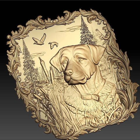 Download free STL file Dog hunting scene ducks frame cnc router art • 3D printer design, CNC_file_and_3D_Printing