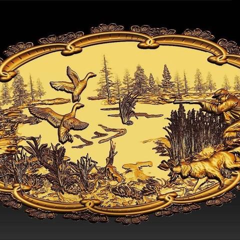 Télécharger modèle 3D gratuit Chiens de scène de chasse canards canards chien et chasseur cnc art frame, CNC_file_and_3D_Printing