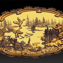 Free STL files Hunting scene dogs ducks dog and hunter cnc art frame, CNC_file_and_3D_Printing