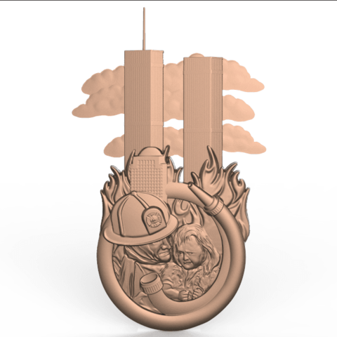 Descargar archivos STL gratis 911 torres gemelas bombero héroe salvador niña pequeña router cnc EE.UU., CNC_file_and_3D_Printing