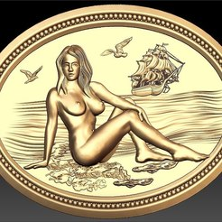 207.jpg Download free STL file naked woman on the beach ship on the sea cnc router frame art • 3D printable design, CNC_file_and_3D_Printing
