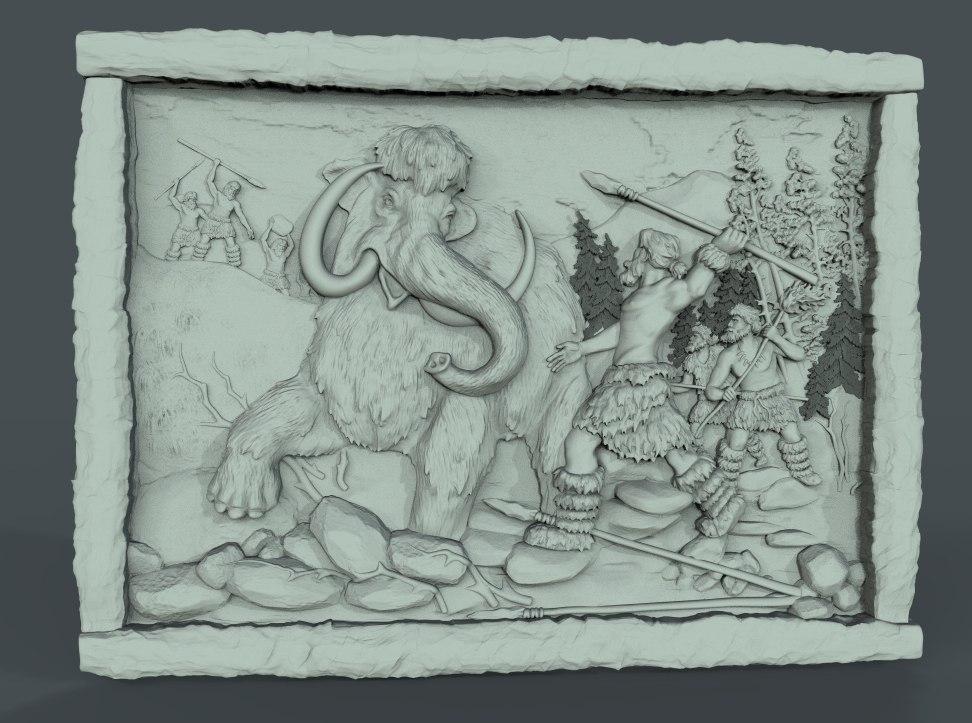 1.jpg Télécharger fichier STL gratuit grotte homme des cavernes mammouth cnc art hunt frame • Plan à imprimer en 3D, CNC_file_and_3D_Printing