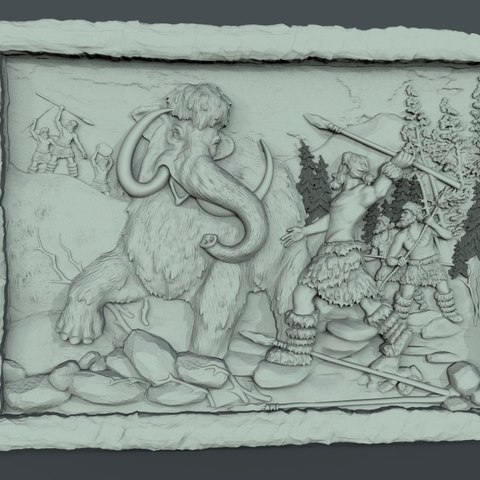 Free STL files caveman mammoth cnc art hunt frame, CNC_file_and_3D_Printing