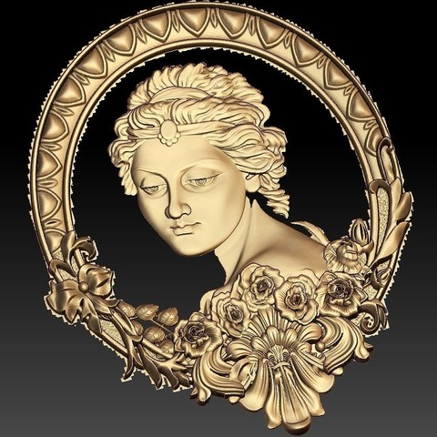 Download free 3D printer designs Lady princess cnc art mirror, CNC_file_and_3D_Printing