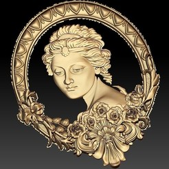Download free 3D printer designs Lady princess cnc art mirror, CNC_file_and_3D_Printing