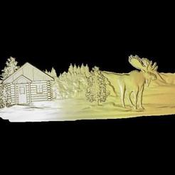 Descargar Modelos 3D para imprimir gratis alce cerca de la cabaña nieve cnc, CNC_file_and_3D_Printing