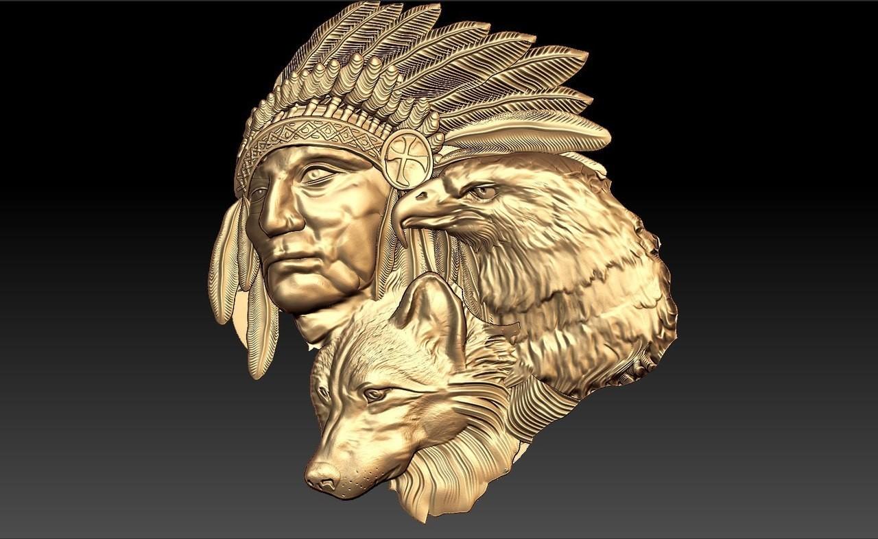 189.jpg Télécharger fichier STL gratuit aigle loup indien et amérindien johnny halliday hommage tatoo • Plan pour impression 3D, CNC_file_and_3D_Printing