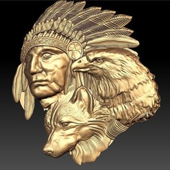 Download free STL file eagle indian wolf and native american johnny halliday tribute tatoo • 3D printer template, CNC_file_and_3D_Printing