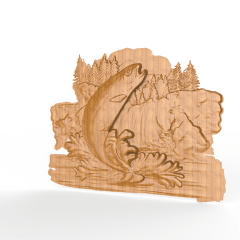 Download free STL trout jumping river cnc router, CNC_file_and_3D_Printing