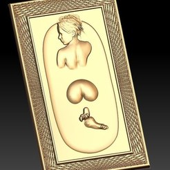 Free STL naked woman in bath cnc art frame, CNC_file_and_3D_Printing