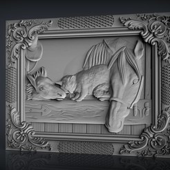 Descargar archivos 3D gratis caballo su cachorro y una granja de gatos cnc router, CNC_file_and_3D_Printing
