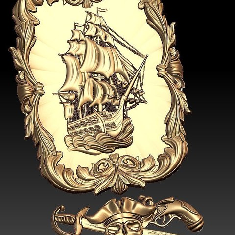 Download free 3D printing models Pirate ship boat cnc art frame router, CNC_file_and_3D_Printing