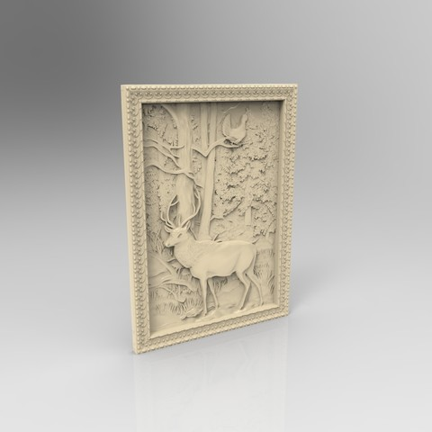 Download free 3D printer designs deer and pheasant on a tree forrest cnc router, CNC_file_and_3D_Printing