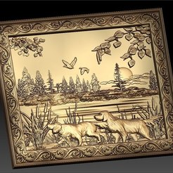 Free 3D print files 2 dogs hunting scene cnc router art, CNC_file_and_3D_Printing