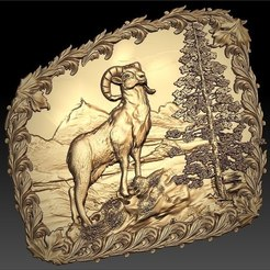 Download free STL file ibex in the mountain bouquetin cnc art frame • 3D print design, CNC_file_and_3D_Printing