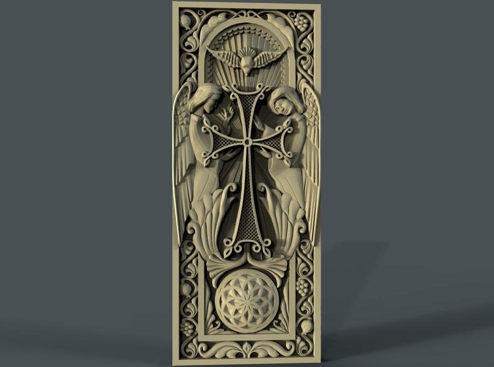 04_061_panno_Khachkar.jpg Télécharger fichier STL gratuit Cadre religieux cnc art routeur • Objet imprimable en 3D, CNC_file_and_3D_Printing