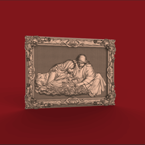 Download free 3D printer designs mary and joseph with little jesus christ cnc router religious art, CNC_file_and_3D_Printing