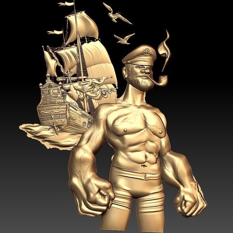 Download free STL file popeye captain ship art cnc  • 3D print design, CNC_file_and_3D_Printing