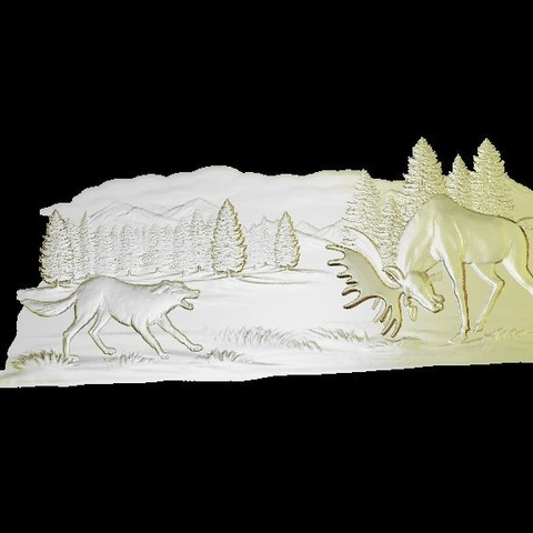 Download free 3D print files moose and wolf fight cnc, CNC_file_and_3D_Printing